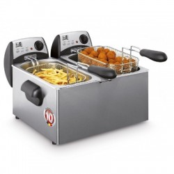 Friteuse double 2x3l couvercle inox